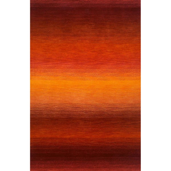 "Rainbow Striped Red/Burgundy Indoor Rug (3'5"" x 5'5"")"