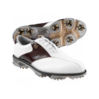 FootJoy Men's DryJoy Tour White/ Mahogany Stripe Golf Shoes