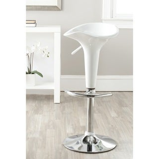 Safavieh Jataya White Adjustable Height Swivel Bar Stool