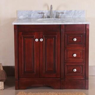 austen 37 inch cherry finish single sink vanity set