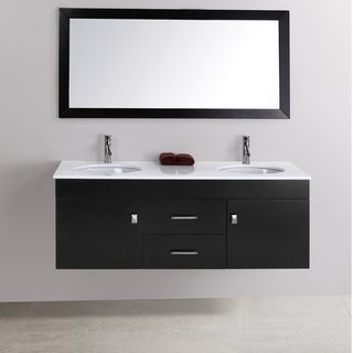 Alyssa 56 Inch Double Sink Vanity Set Overstock Shopping Great Deals On Virtu Bathroom Vanities