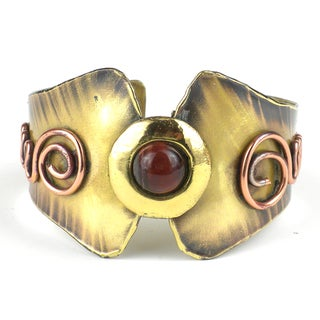 Handmade Red Tiger Eye Brass and Copper Cuff (South Africa)