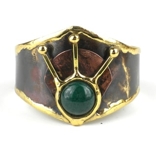 Handmade Green Jade Rays Brass Cuff (South Africa)