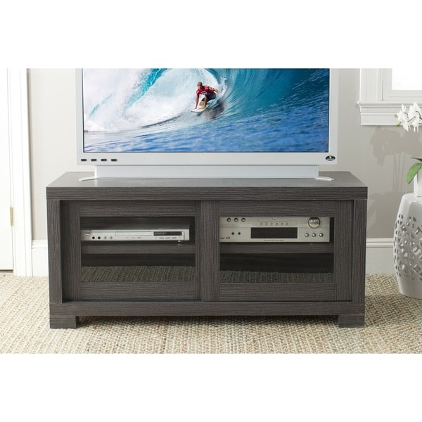 Safavieh Davis Storage Dark Grey Sliding Door TV Cabinet