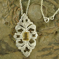 Sterling Silver 'Sunshine' Citrine Necklace (India)