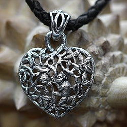 Sterling Silver 'Heart of Nature' Leather Necklace (Indonesia)