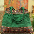 Handcrafted Polyester 'Emerald Mandalas' Shoulder Bag (India)