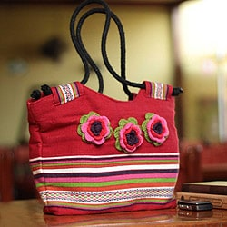 Alpaca Blend 'Cuzco Roses' Shoulder Bag (large) (Peru)