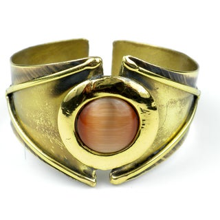 Handcrafted Reborn Peach Tiger Eye Brass Cuff (South Africa)