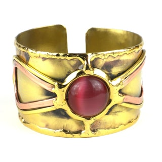 Handcrafted First Blush Pink Tiger Eye Brass Cuff (South Africa)
