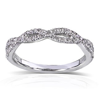 Annello 14k White Gold 1/6 ct TDW Braided Diamond Band (H-I, I1-I2)