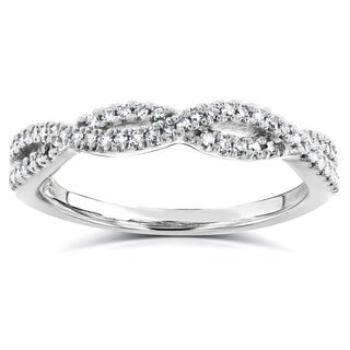 14k White Gold 1/6 ct TDW Braided Diamond Band (H-I, I1-I2)