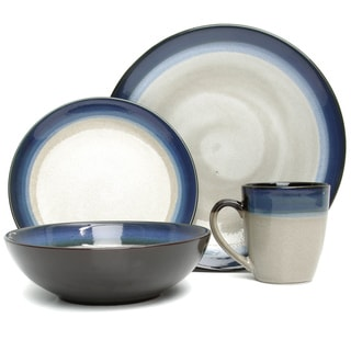 Gibson Elite Couture Bands 16-piece Blue/ Cream Dinnerware Set