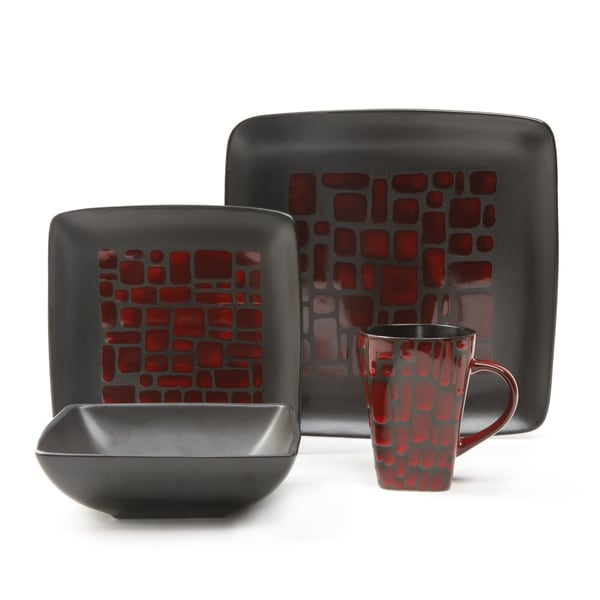 gibson everyday cabazon square 16 piece dinnerware set