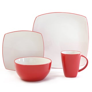 Gibson Home Soho Lounge 16-piece Two-tone Red Dinnerware Set