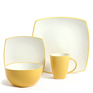 Gibson Home Soho Lounge 16-piece Yellow Dinnerware Set