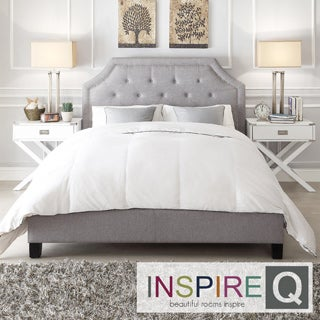 INSPIRE Q Grace Grey Linen Button Tufted Arched Bridge Upholstered Full-sized Platform