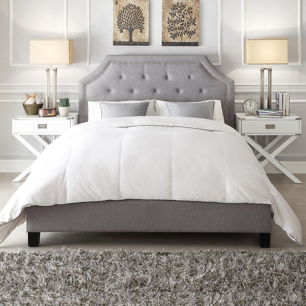INSPIRE Q Grace Grey Linen Button Tufted Arched Bridge Upholstered Platform Bed
