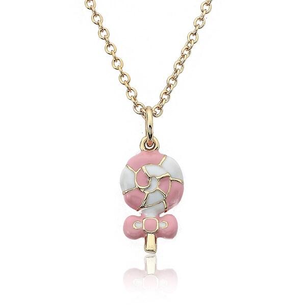 Little Miss Twin Stars Gold Overlay Children's Enamel Lollipop Necklace