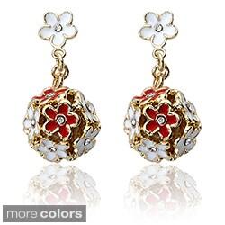 Little Miss Twin Stars Gold Overlay Children's CZ and Enamel Flower Earrings