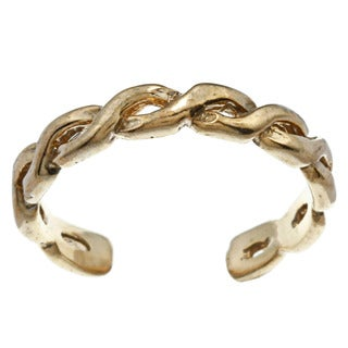 14k Yellow Gold over Silver Twisted Adjustable Toe Ring