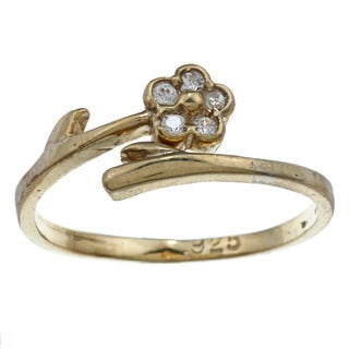 14k Yellow Gold over Silver Cubic Zirconia Flower Adjustable Toe Ring