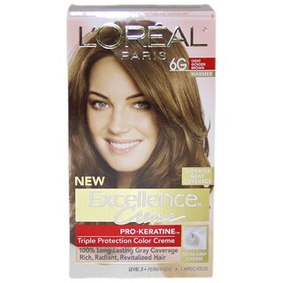 L'Oreal Excellence Creme Pro-Keratine #6G Light Golden Brown Warmer Hair Color