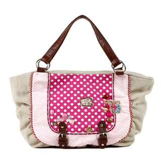Nikky by Nicole Lee 'Mae' Beige Polka Dot Satchel