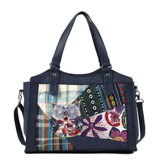 Nikky by Nicole Lee 'Roux' Blue Owl Patchwork Satchel