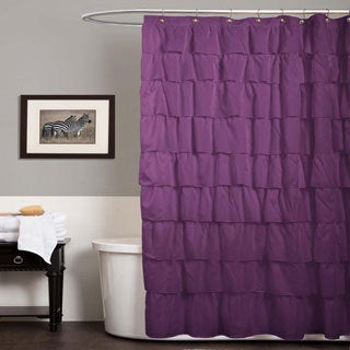 Lush Decor Ruffle Purple Shower Curtain