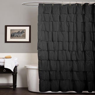 Lush Decor Ruffle Black Shower Curtain