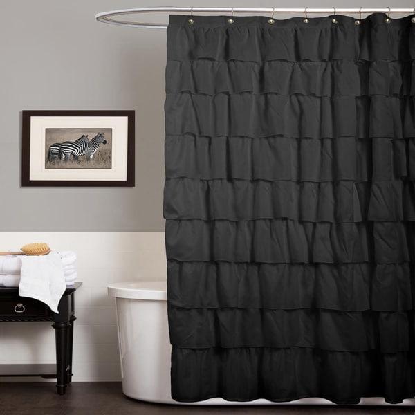 Lush Decor Ruffle Black Shower Curtain