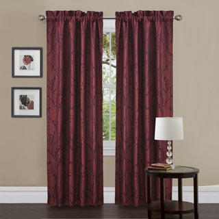 Lush Decor Flower Texture Red 84-Inch Curtain Panel Pair