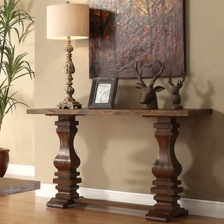 TRIBECCA HOME Atelier Traditional French Burnished Brown Pedestal Sofa Table