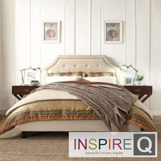 Inspire Q Esmeral Beige Linen Button Tufted Arched Bridge Upholstered Bed