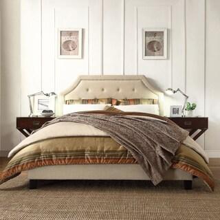 INSPIRE Q Grace Beige Linen Button Tufted Arched Bridge Upholstered Platform Bed