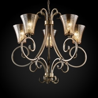 5-light Round Flared Uplight Antique Brass Chandelier