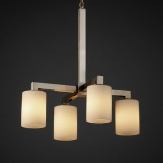 4-light Flat Rim Opal Cylinder Brushed Nickel Chandelier