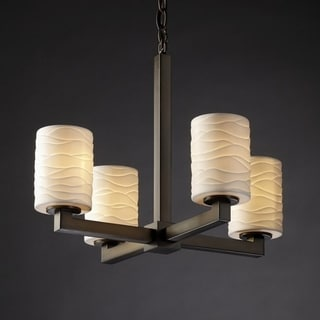 4-light Flat Rim Cylinder with Waves Dark Bronze Chandelier