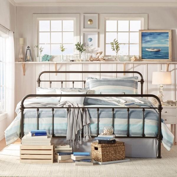 king size bed antique wrought iron victorian metal headboard footboard frame ebay. Black Bedroom Furniture Sets. Home Design Ideas