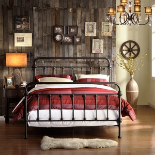 INSPIRE Q Giselle Antique Dark Bronze Graceful Lines Victorian Iron Metal King-sized Bed