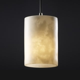1-Light Flat Rim Cylinder Cloud Resin Brushed Nickel Mini-Pendant