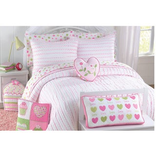 Pink Heart 3-piece Quilt Set