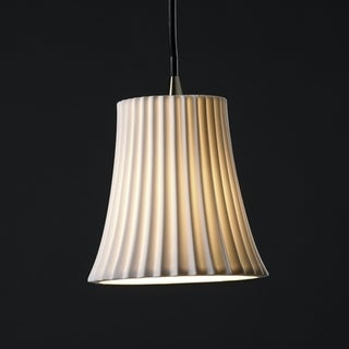 Brushed Nickel 1-light Pleat Impression Round Flared Mini Pendant