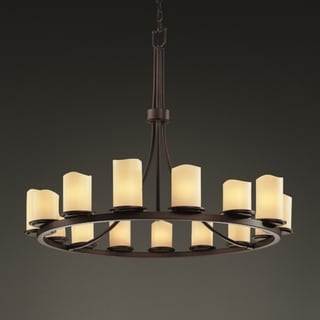 Dark Bronze 15-light Melted Rim Ring Cylinder Chandelier