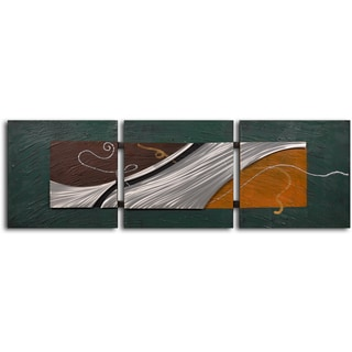 Handcrafted 'Foam on Shore' Metal on Hand Painted Canvas Wall Decor