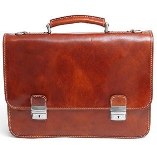 Alberto Bellucci Firenze Double Compartment Italian Leather Briefcase