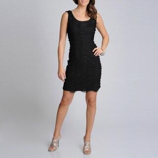 R & M Richards Women's Ruffled Little Black Dress