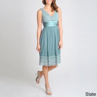 R & M Richards Women's Lace Accented Empire Dress