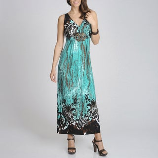 R & M Richards Women's Turquoise Printed Maxi Dress
